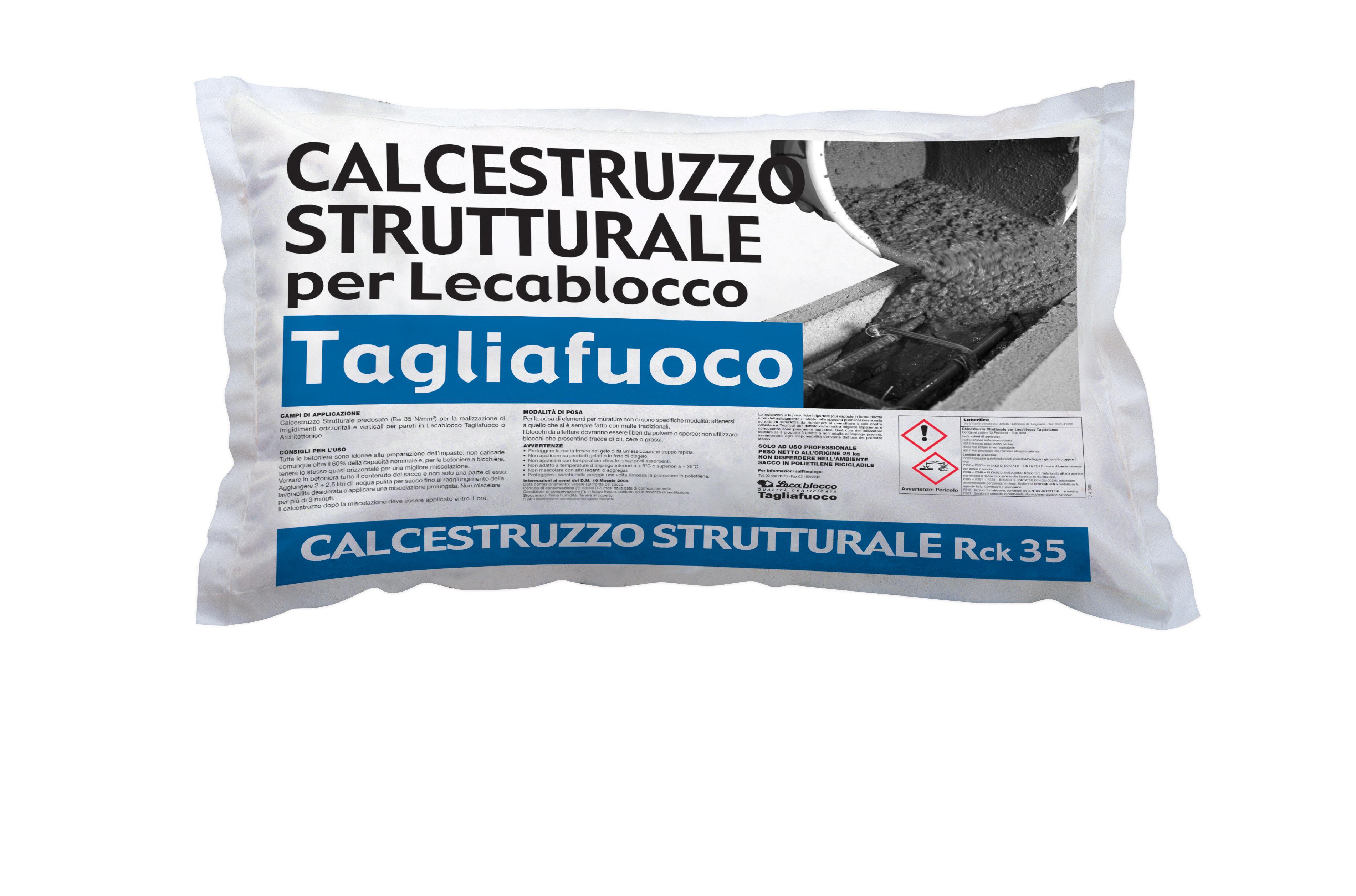 calcestruzzo strutturale per lecablocco tagliafuoco
